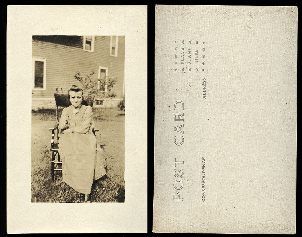 Vintage Postcard RPPC Photo - Disabled Woman in Chair