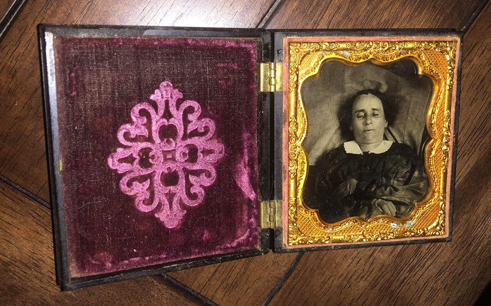 Post Mortem Ambrotype of a Woman / Union Case / 1850s