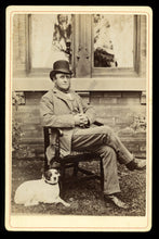 Load image into Gallery viewer, Antique 1890s Photo Casual Man Outdoors Front of House Jack Russell Terrier Dog