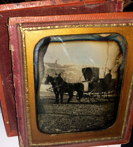 1850s Dag Horse & Wagon California Blacksmith (?) Sign / Street Scene Buildings