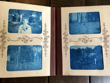 Load image into Gallery viewer, Wonderful Miniature BLUE CYANOTYPE Photo Album 1890s 1900s Train Bicycles Boxing Zoo