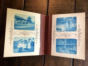 Wonderful Miniature BLUE CYANOTYPE Photo Album 1890s 1900s Train Bicycles Boxing Zoo