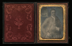 1/4 1850s Daguerreotype 1700s Sea Captain fr Revolutionary War Period Painting