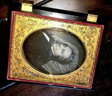 Load image into Gallery viewer, Quarter Plate Post Mortem Daguerreotype of Man in Partial Mourning Case