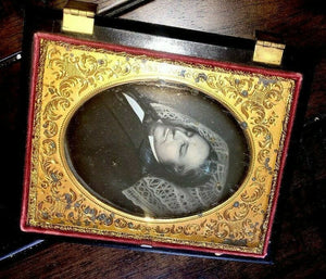 Quarter Plate Post Mortem Daguerreotype of Man in Partial Mourning Case