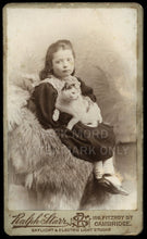 Load image into Gallery viewer, Electric Light - Girl Holding Pet CAT - Great Antique Victorian Era Photo - UK