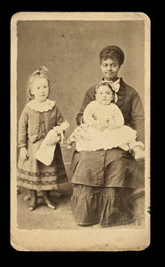 Antique CDV Photo - African American Nanny & White Children One Holding Doll