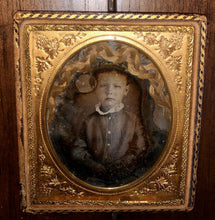 Load image into Gallery viewer, 1/6 Daguerreotype Little Boy with Braid of Hair / Memento Mori Hair Art Mourning