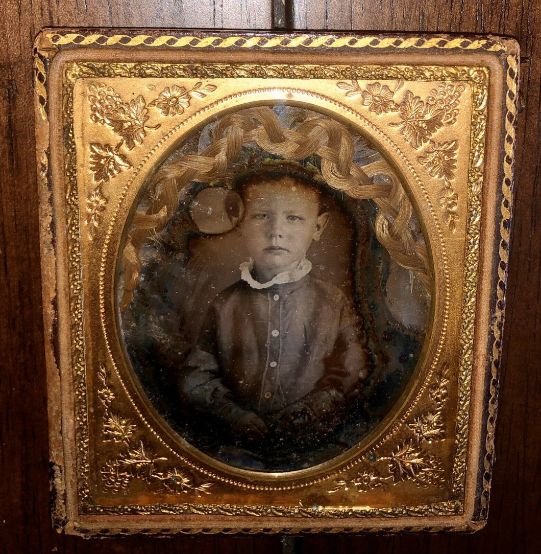 1/6 Daguerreotype Little Boy with Braid of Hair / Memento Mori Hair Art Mourning