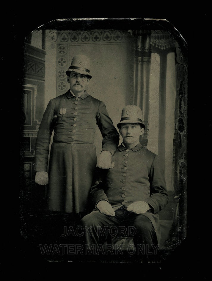 Antique Tintype Photo Two Victorian Police Officers in Full Uniform