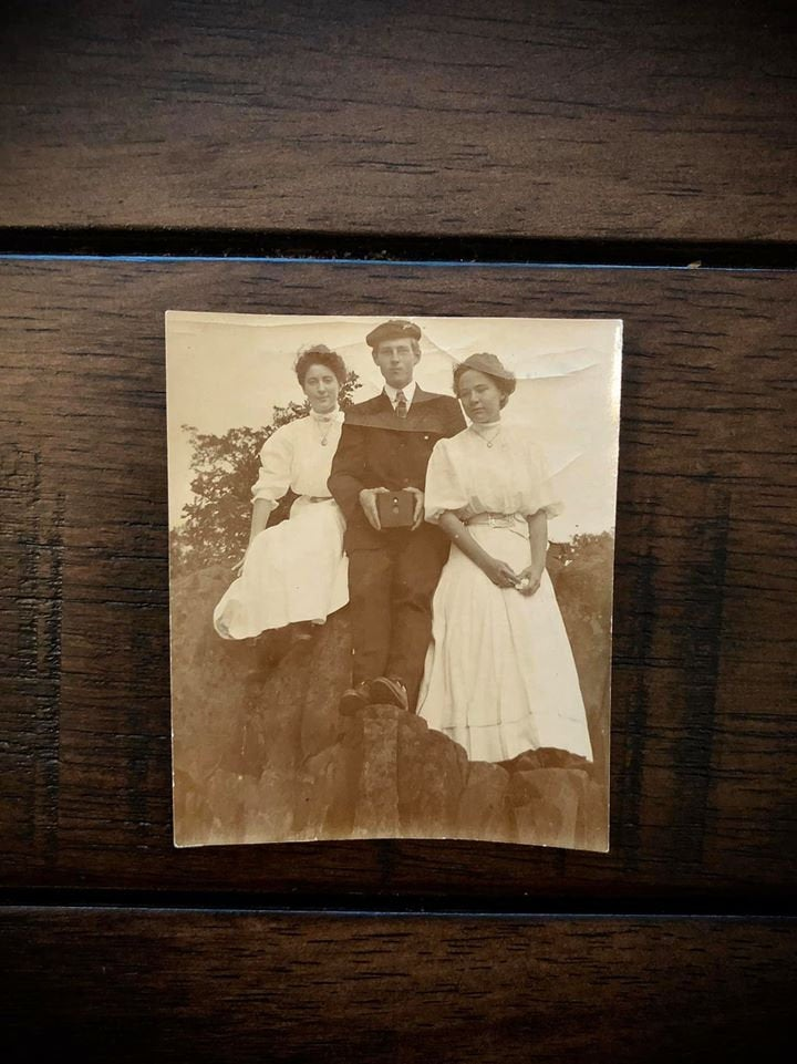 Antique Early 1900s Snapshot Photo Women & Photographer Holding Kodak Brownie Camera - Eclipse?