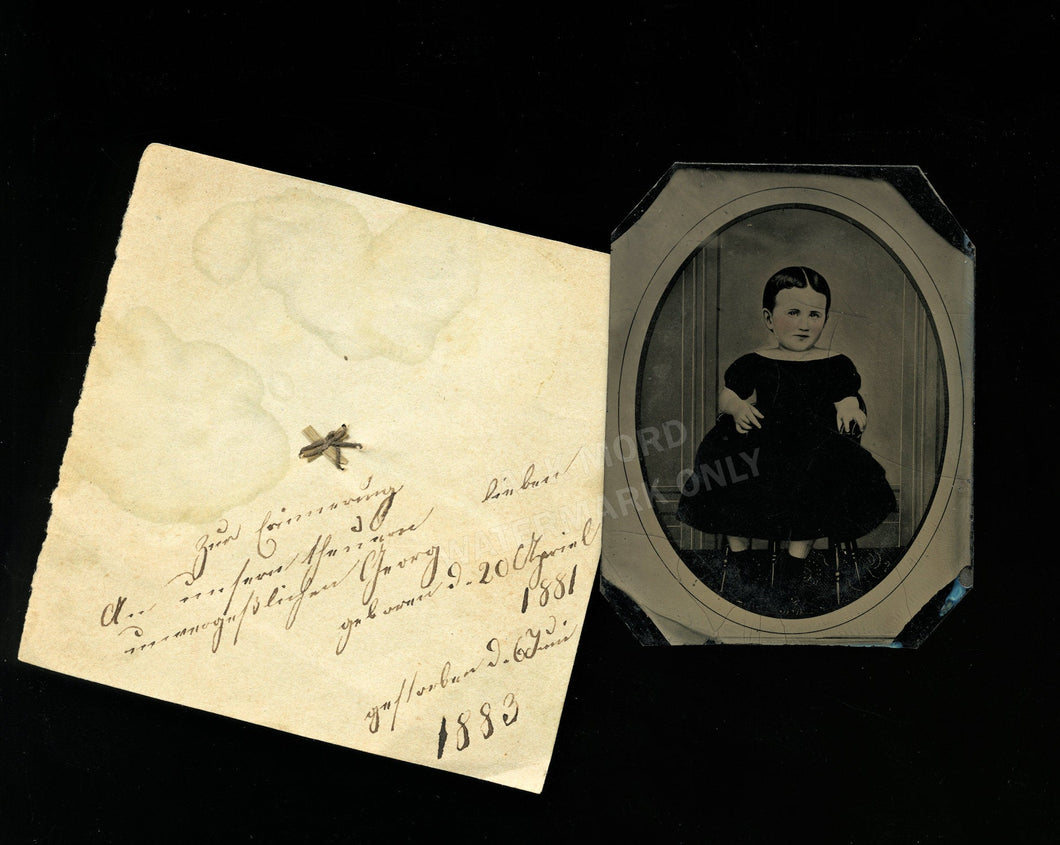 tintype of little girl with memorial note and hair dated birth & death / folk art