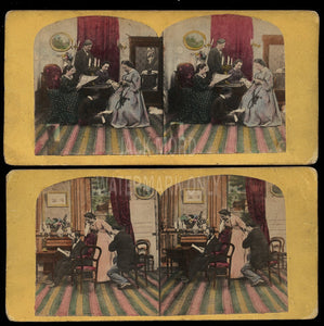 1860S STEREOVIEW PHOTOS Victorian Home Life Same House Interior Tinted Tax Stamp Color Tinted