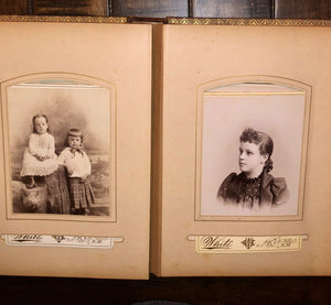 Antique leather album Nice Cabinet Cards CDV civil war tax stamps
