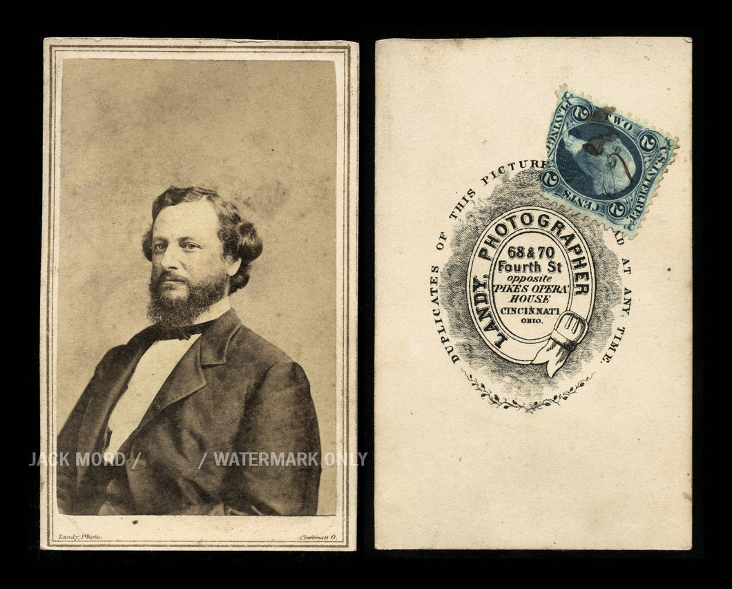 Rare Political Photo Copperhead Leader George H. Pendelton / Civil War Tax Stamp