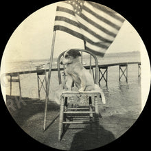 Load image into Gallery viewer, TWO Vintage Snapshot Photos Cute Fourth of July Patriot DOG w US Flag & Master
