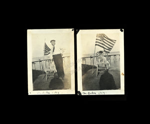 TWO Vintage Snapshot Photos Cute Fourth of July Patriot DOG w US Flag & Master