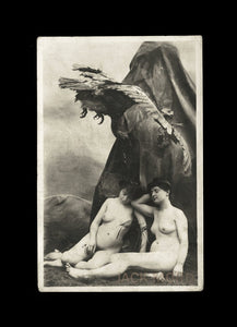 Unusual Antique Photograph of Victorian Era Nude Women & Swooping Bird! Allegorical