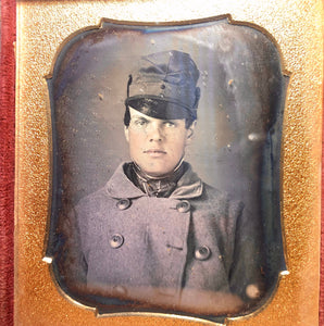 Excellent Daguerreotype Handsome Young Man Wearing Cap &  Big Button Coat!