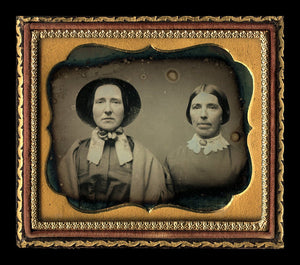 1/6 Daguerreotype Sad Sisters or Friends Bonnet & Wrap Brooch - Sealed and Cased