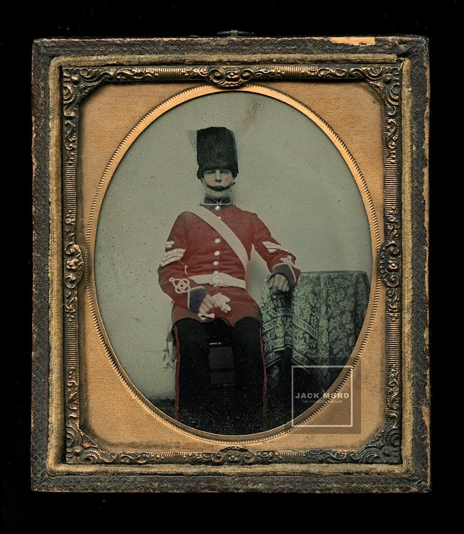 1/6 PAINTED Relievo Ambrotype 1860s Soldier in Uniform - Royal Grenadier Guard?
