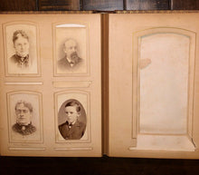 Load image into Gallery viewer, Antique leather album Nice Cabinet Cards CDV civil war tax stamps