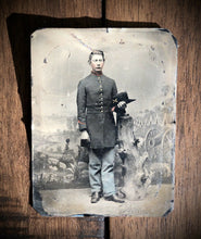 Load image into Gallery viewer, 1st Wisconsin Heavy Artillery Civil War Soldier Camp Backdrop 1860s Tintype Photo