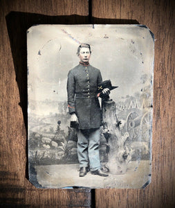1st Wisconsin Heavy Artillery Civil War Soldier Camp Backdrop 1860s Tintype Photo