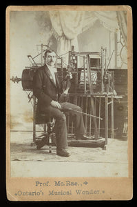 Rare Antique Cabinet Card Photo of 1-MAN BAND Musician // Music Int