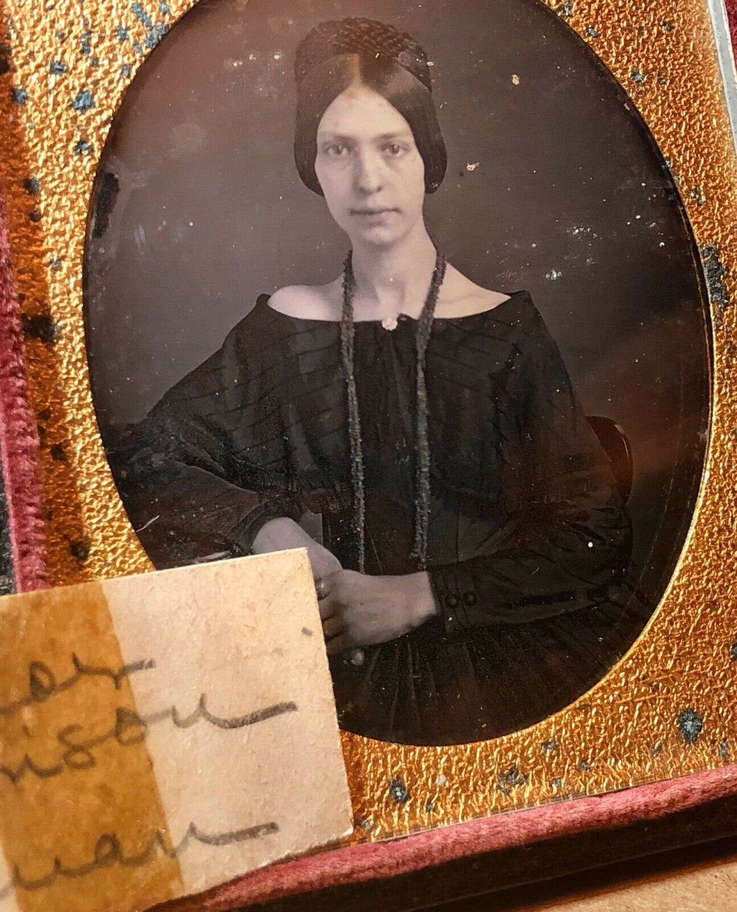ID'd Woman Amazing Braided Hair 1840s Daguerreotype ~ Plumbe Genealogy Mourning?
