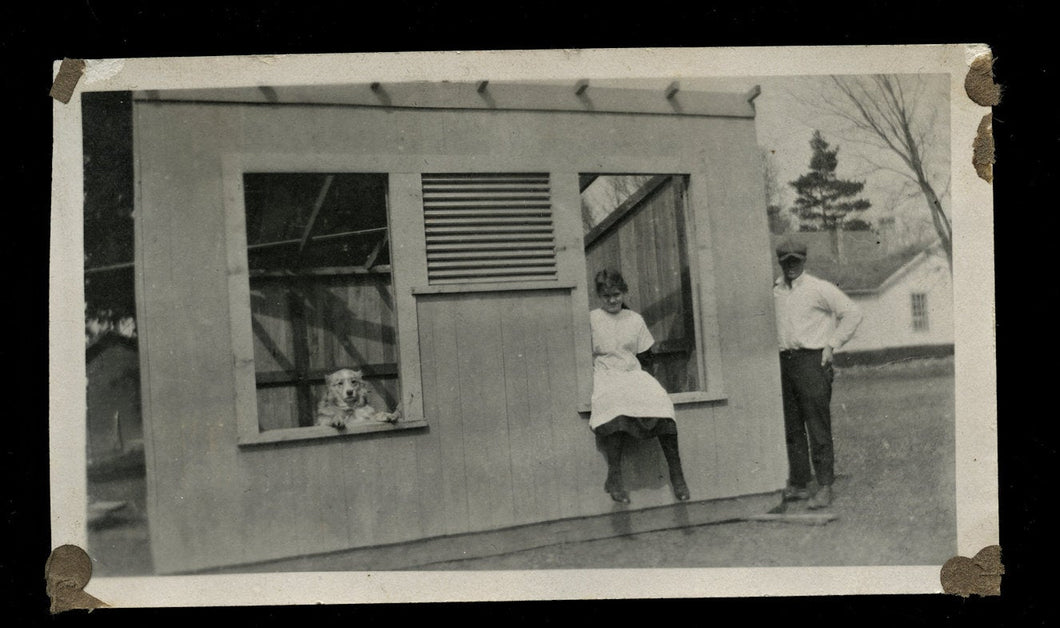 Man Girl & Funny Standing Dog in Window - Vintage Antique Snapshot Photo 1920s
