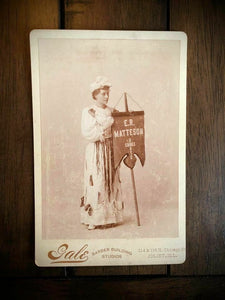 Banner Lady Holding Shoe Seller Sign - Advertising Cabinet Card