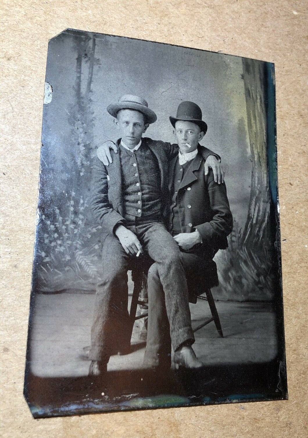 Two Cigarette Smoking Men One in Friend's Lap / Antique Tintype Photo