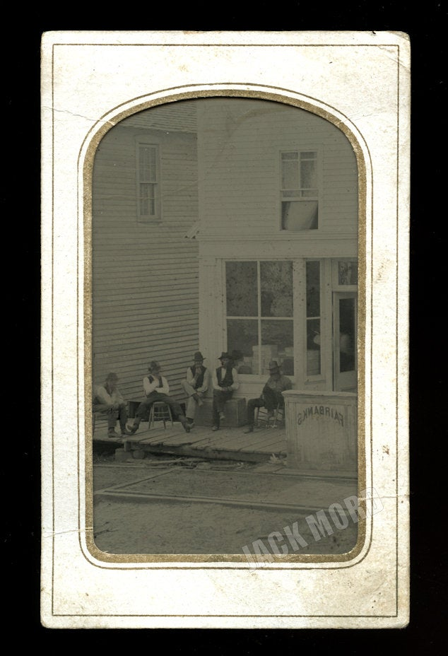 Neat Antique Tintype Men Hanging Out in Front of