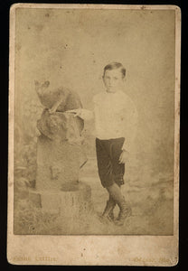 1880s Cabinet Card Photo Odessa Missouri Boy with his Cat