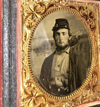 Load image into Gallery viewer, 1860s Photo 2x? Armed Civil War Soldier Wearing Corps Badge, Painted Backdrop
