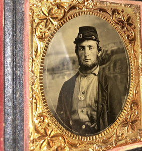1860s Photo 2x? Armed Civil War Soldier Wearing Corps Badge, Painted Backdrop