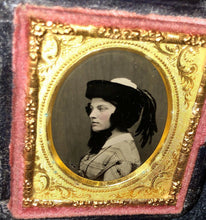 Load image into Gallery viewer, miniature 1850s ambrotype boston girl in profile wearing hat & feathers, PB case