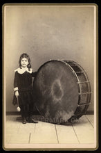 Load image into Gallery viewer, Unusual Music Int Antique Photo ID'd Drummer Girl in Dress & Large Drum