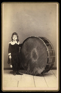 Unusual Music Int Antique Photo ID'd Drummer Girl in Dress & Large Drum