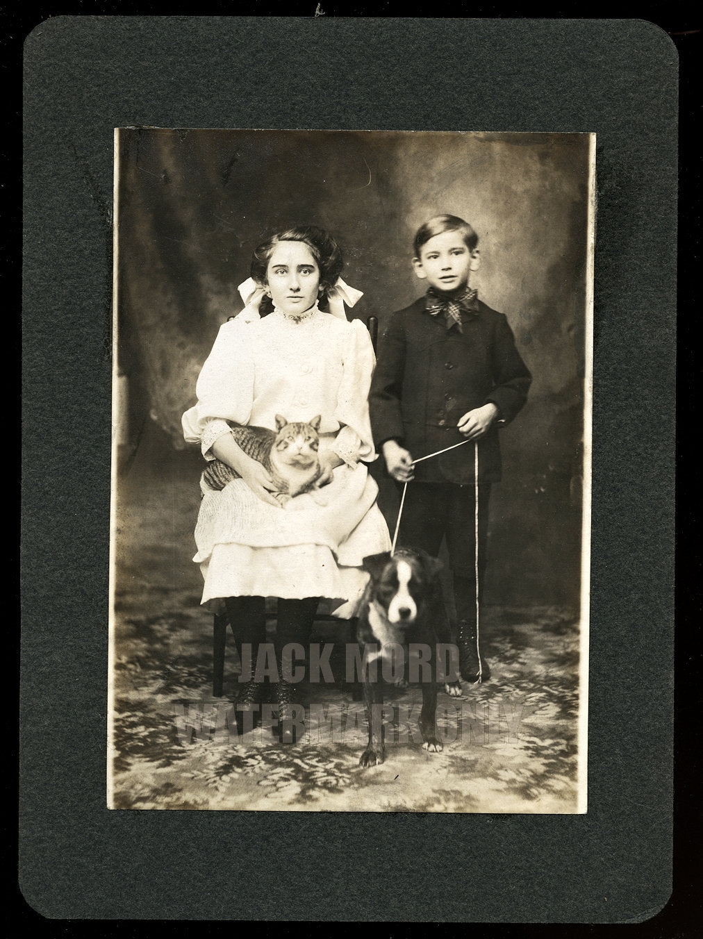 Glaze Siblings Holding Their Pet CAT & DOG on Leash - Bay City Oregon 1900s