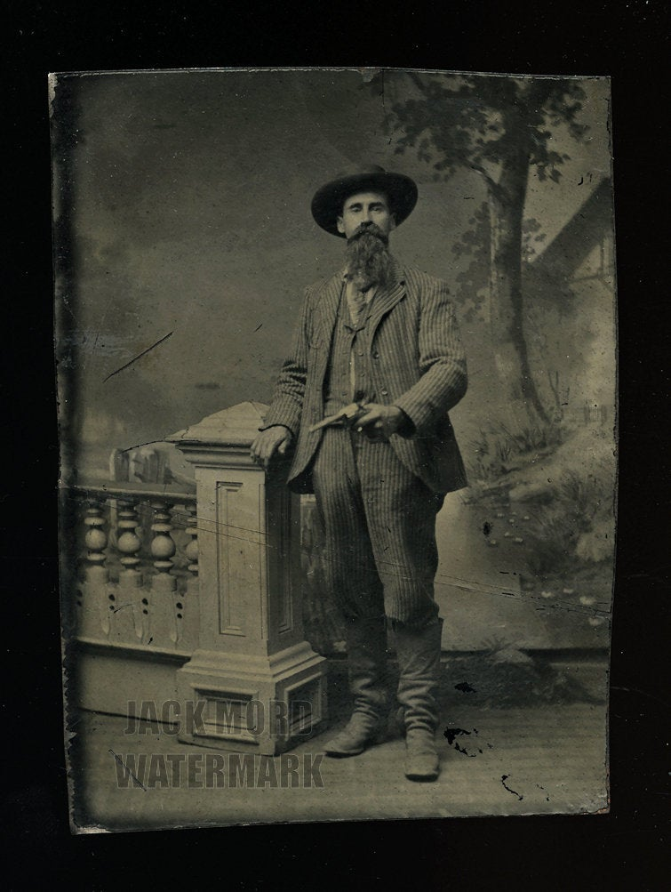 Scary Looking Outlaw Type / Cowboy Brandishing a Revolver, Wearing Boots, Antique 1870s Tintype Photo