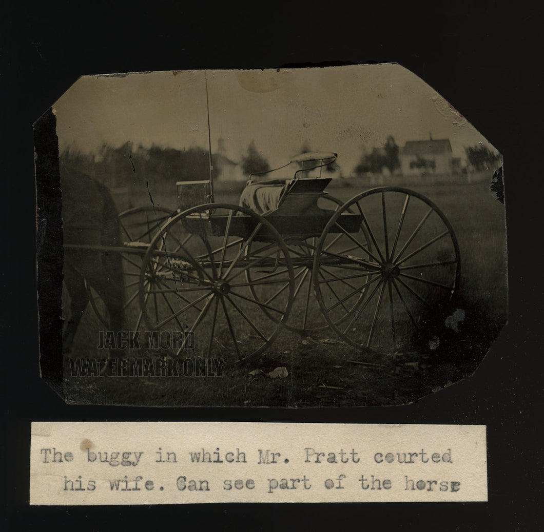 Charming Outdoor Tintype of Horse & Buggy with Courting Note 1860s 1870s