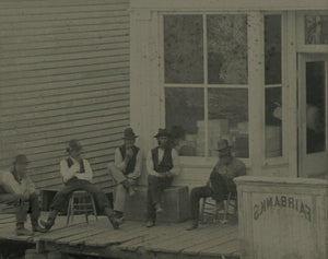 "Neat Antique Tintype Men Hanging Out in Front of ""FAIRBANKS"" Building / Outdoor 1870s"
