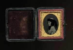 miniature 1850s ambrotype boston girl in profile wearing hat & feathers, PB case