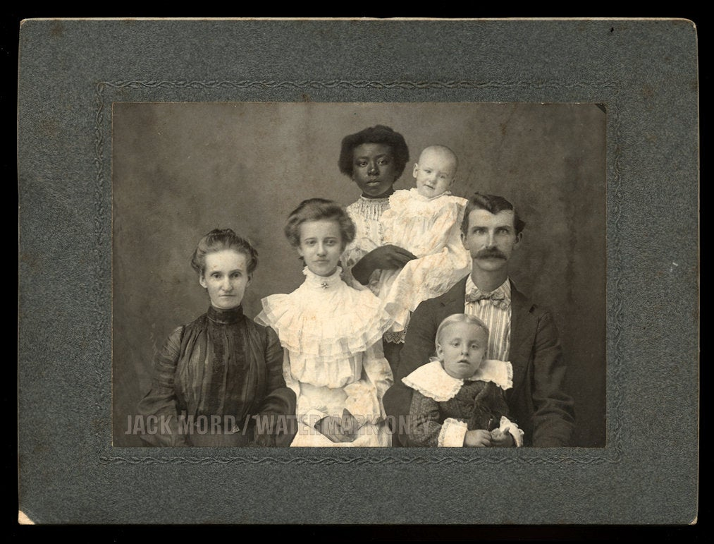 Great Antique Photo - Young African American Nanny & ID'd Wright Family, Cochran, Georgia 1900s