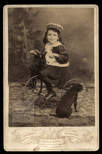 Unusual Antique Photo - Boy on Tricycle / Bike with Little Dog Facing Away!