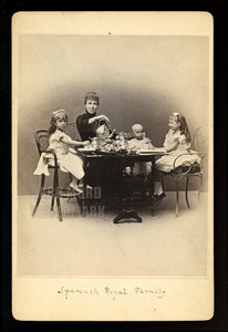 Tea Party! Rare Photo Spanish Royal Family Infant King of Spain & Mourning Queen