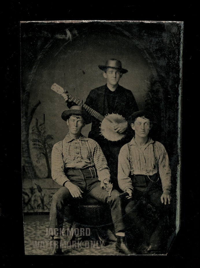 Antique Banjo Tintype - One Man Playing, Two Holding Pistols - Unusual and Rare