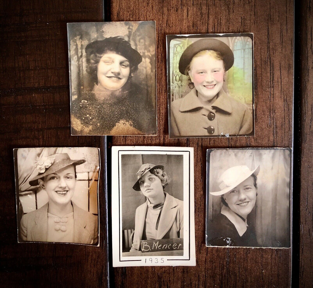 FOURTEEN (14) Vintage 1930 1940s Photobooth Photos of Women